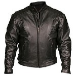 Mens Vented Motorcycle Leather Jacket with Side laces