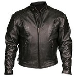Mens Vented Leather Racer Motorcycle Jacket, Z/O Lining