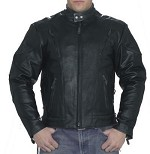 Men's Vented Leather Motorcycle Jacket with Side Laces