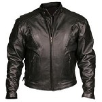 Mens Vented Leather Motorcycle Jacket with Z/O Liner
