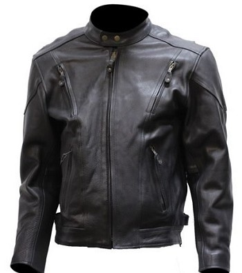 Mens Vented Leather Motorcycle Jacket with Side Zippers