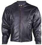 Mens Leather Motorcycle Jacket with Gathered Sides