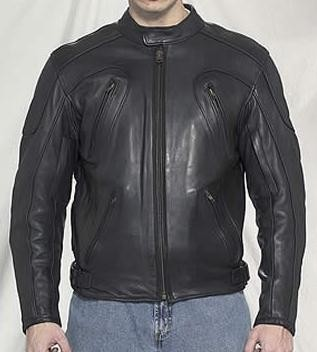 Mens Vented Leather Motorcycle Jacket with Armor