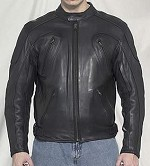 Mens Armored Vented Leather Motorcycle Jacket