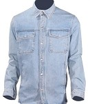 Mens Long Sleeve Blue Denim Shirt With Snaps