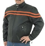Mens Leather Motorcycle Jacket with Orange Stripes