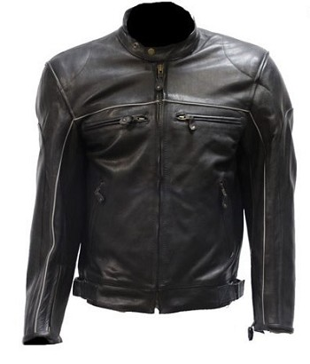 Mens Leather Motorcycle Jacket with Reflective Piping