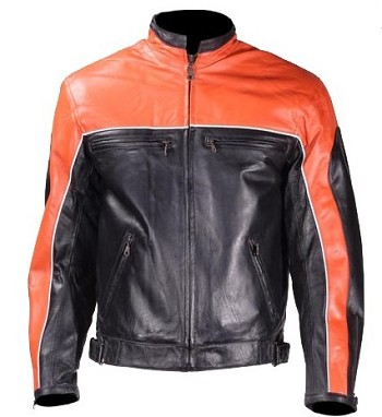 Mens Black and Orange Vented Leather Motorcycle Jackets