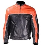 Black and Orange Vented Leather Motorcycle Jacket