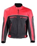 Mens Black and Red Vented Leather motorcycle Jacket