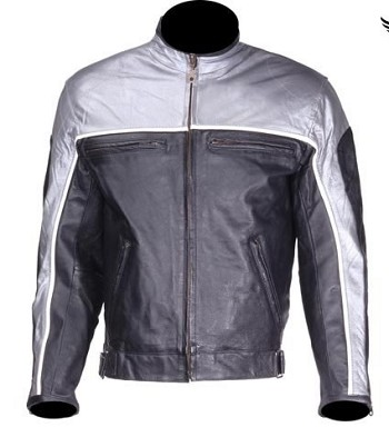 Black and Gray Reflective Vented Leather Motorcycle Jacket