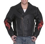 Mens Leather Motorcycle Jacket with Flames
