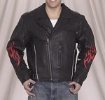 Mens Leather Motorcycle Jacket with Flames and Z/O Lining
