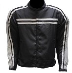 Armored Black/Gray Motorcycle Jacket, Reflective Piping
