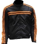 Armored Black/Orange Motorcycle Jacket, Reflective Piping
