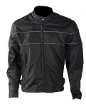 Mens Textile Reflective Piping Motorcycle Jacket