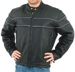 Mens Leather Motorcycle Jackets with Reflective Piping