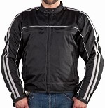 Black and Gray Armored Motorcycle Jacket, Reflective Piping