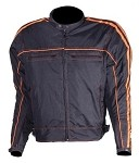 Black/Orange Armored Motorcycle Jacket, Reflective Piping
