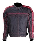 Black and Red Armored Motorcycle Jacket, Reflective Piping