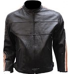 Leather Motorcycle Jacket Orange and White Racing Stripes