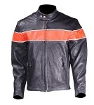 Mens Vented Leather Motorcycle Jacket with Orange Stripe