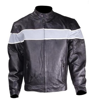 Men's Vented Leather Motorcycle Jacket, Reflective Gray Stripe