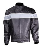 Mens Vented Leather Motorcycle Jacket Reflective Stripes