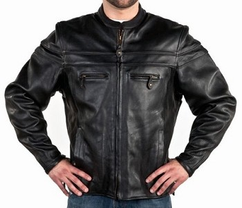 Mens Vented Leather Motorcycle Jacket with Double Piping