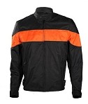 Mens Textile Black/Orange Motorcycle Jacket