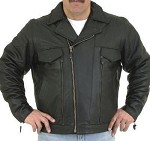 Men's Vented Leather Motorcycle Jacket with Zip Out Lining