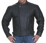 Men's Padded Racer Vented Leather Motorcycle Jacket