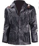 Mens Western Leather Jacket With Fringe & Beads