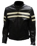 Men's Vented Leather Motorcycle Jacket with Silver Stripes