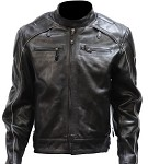 Men's Reflective Piping Vented Leather Motorcycle Jacket