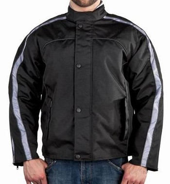 Men's Racer Motorcycle Jacket with Silver Arm Stripes
