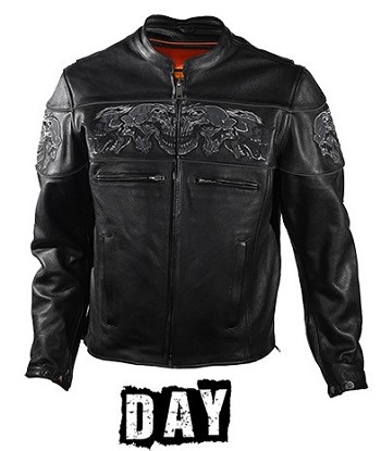 Mens Leather Motorcycle Jacket With Reflective Skulls