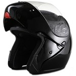 DOT Full Face Gloss Black Modular Motorcycle Helmet