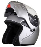 DOT Full Face Silver Modular Motorcycle Helmet