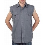 Men's Gray Denim Sleeveless Shirts with Buttons