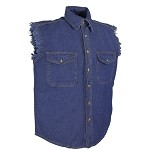 Mens Blue Sleeveless Denim Shirt with Buttons