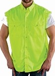 Men's Fluorescent Sleeveless Denim Shirt with Buttons