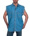 Men's Light Blue Sleeveless Denim Shirt with Buttons