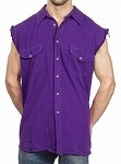 Men's Purple Sleeveless Denim Shirt with Buttons