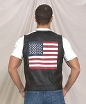 Mens Leather Vest With USA Flag