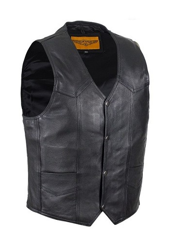 Mens Black Leather Motorcycle Vest with Gun Pocket