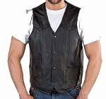 Mens Black Genuine Leather Motorcycle Vest