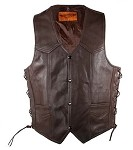 Mens Brown Leather Motorcycle Vest