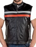Mens Black Leather Vest with Orange Reflective Stripe