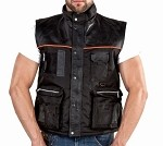 Men's Lightweight Leather and Mesh Cargo Vest